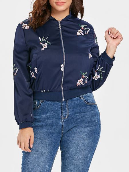 Plus Size Floral Patch Bomber Jacket