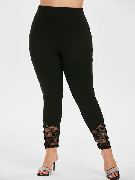 Plus Size Lace Insert Button Detail Skinny Leggings
