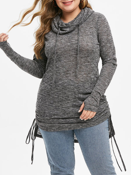 Cowl Neck High Low Cinched Knitwear Sweater