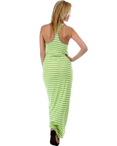 NEON STRIPE RACERBACK MAXI DRESS
