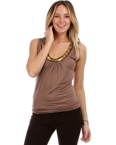 Alexandra Brown Gold Studded Neckline Sleeveless