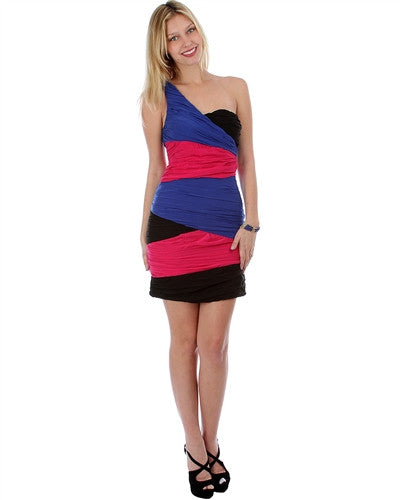 ROYAL BLUE GATHERED CHIFFON COLOR BLOCK ONE SHOULDER DRESS