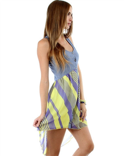 YELLOW STRIPE HI-LO BUTTON-UP COMBO DRESS