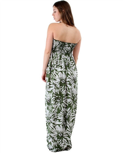 GREEN FLORAL RAYON STRAPLESS MAXI DRESS