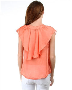 SATIN BLOUSE WITH DOUBLE BUTTON RUFFLE