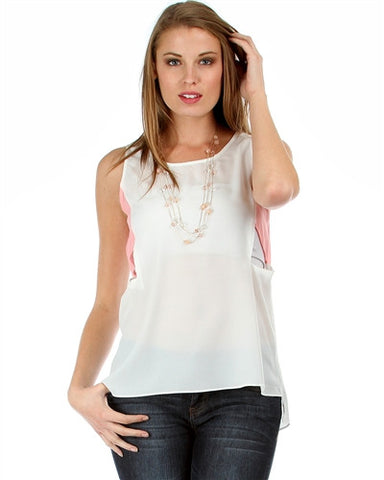 WHITE/PINK CHIFFON SLEEVELESS TOP WITH SIDE CUTOUTS