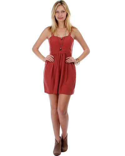 ROSE BABYDOLL DRESS WITH CRISS-CROSS OPEN BACK