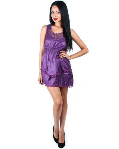PURPLE LAYERED DRESS WITH EMBROIDERED NECKLINE