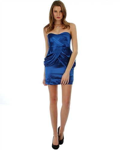 ROYAL BLUE SILK SATIN STRAPLESS COCKTAIL DRESS