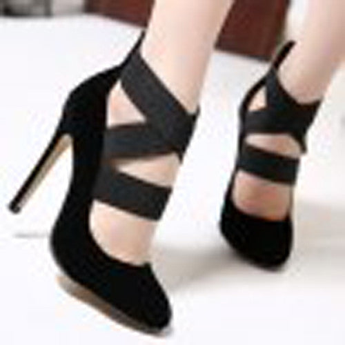 Cross My Heart Black Pumps With Elastic and Criss-Cross Design