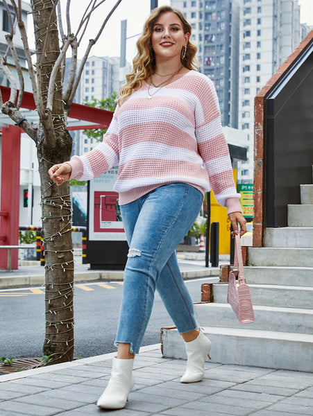 Two Tone Striped Drop Shoulder Sweater