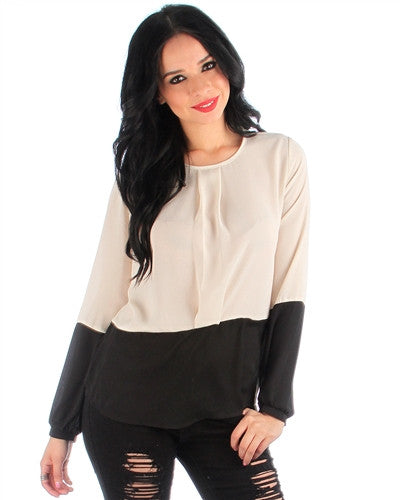 BEIGE AND BLACK TWO-TONE LONG SLEEVE BLOUSE