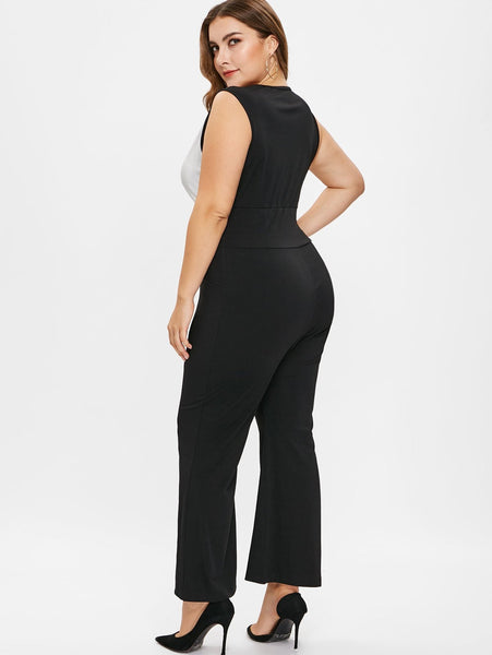 Plus Size Contrast Flare Jumpsuit with Lace Up