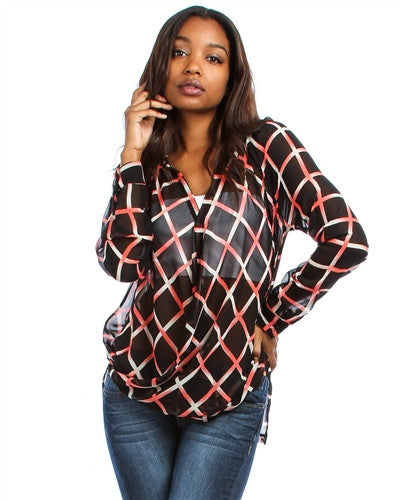 Night Life Black Long Sleeve Chiffon V Neck Top with Coral Line Print