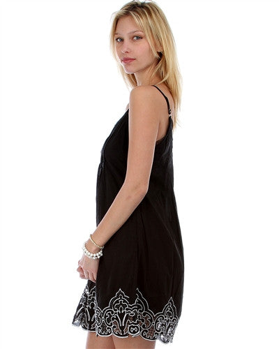 Last Call Black Spaghetti Strap Dress with Embroidered Cutout Bottom Hem