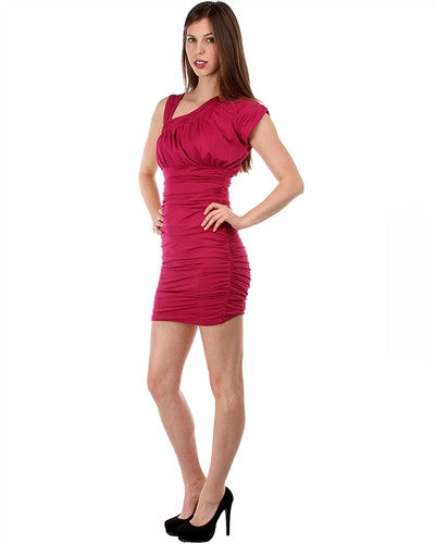 MAGENTA ASYMMETRICAL MISSY DRESS WITH RUCHED SIDES