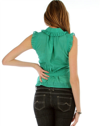 GREEN SLEEVELESS TIER BUTTON-UP BLOUSE