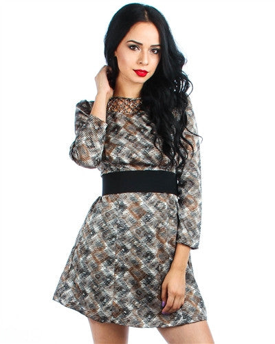 GRAY PRINTED SILK DRESS WITH CAGE NECKLINE AND ATTACHED ELASTIC WAIST BELT
