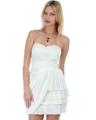 IVORY SATIN STRAPLESS PLEATED COCKTAIL DRESS