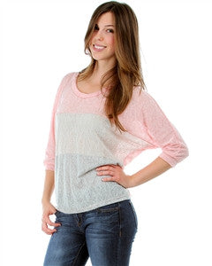 PINK TWO-TONE PANEL SLUB KNIT BLOUSE