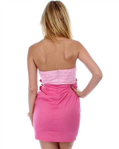 PINK TWO TONE STRAPLESS DRESS WITH PLEATED BUST AND RUFFLE CENTER