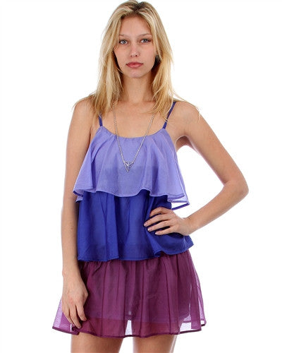 Layers of Me Blue/Purple Two Tone Tier Spaghetti Stap Dress
