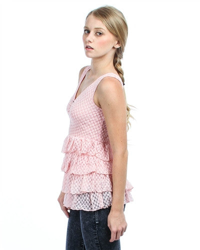 PINK LACE ZIPPER FRONT TIERRED TANK TOP