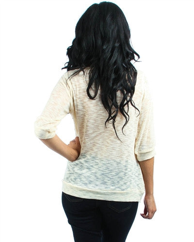 TAUPE 3/4 SLEEVE KNIT TOP WITH CROCHET