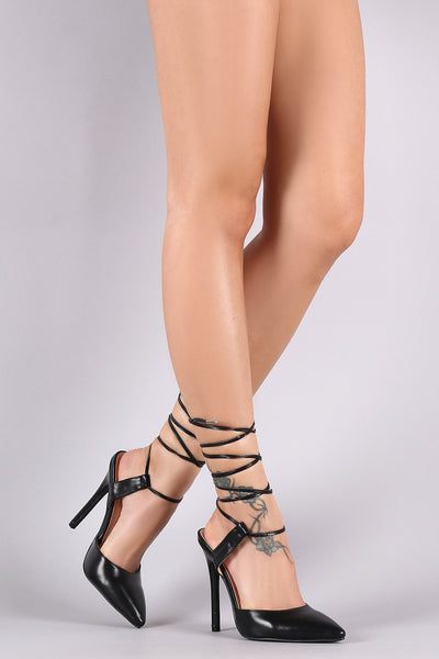 Vegan Leather Pointy Toe Ankle Lace-Up Stiletto Heel