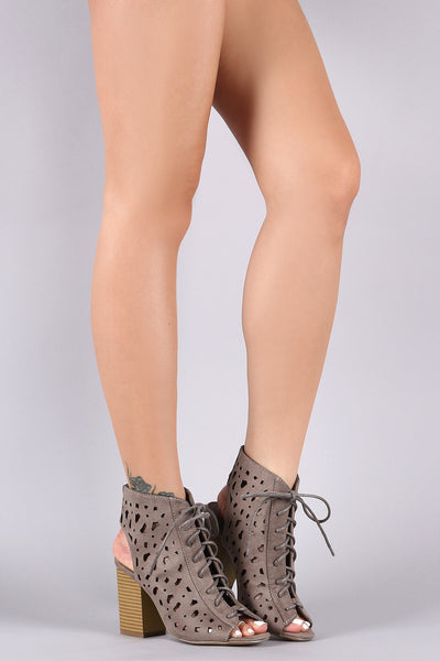 Laser Cutout Lace-Up Peep Toe Chunky Heel Bootie