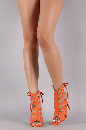 Shoe Republic LA Strappy Caged Back Lace-Up Heel