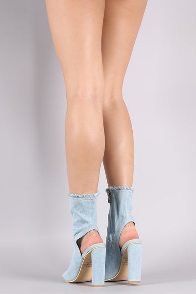 Frayed Denim Peep Toe Chunky Heeled Fitted Booties
