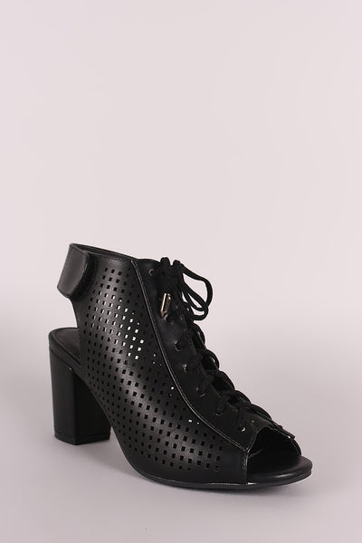 Perforated Peep Toe Lace Up Chunky Mule Heeled Booties
