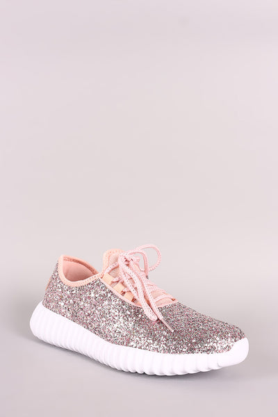 Glitter Ridge Sole Lace Up Sneakers