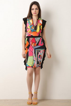 Pop Art Front Zip-Up Ruffled Dress