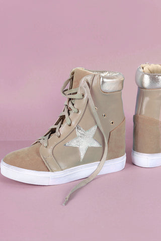 Metallic Star Lace-Up High Top Wedge Sneaker