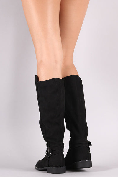 Bamboo Harness Studded Riding Knee High Boots