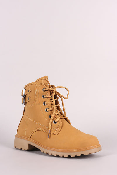 Nubuck Buckled Combat Lace Up Lug Sole Ankle Boots