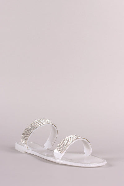 Bamboo Rhinestone Accent Glitter Jelly Double Band Slide Flat Sandal