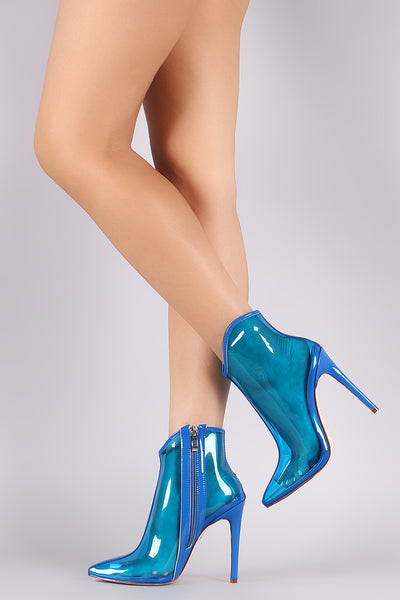 Wild Diva Lounge Transparent Pointy Toe Ankle Boots