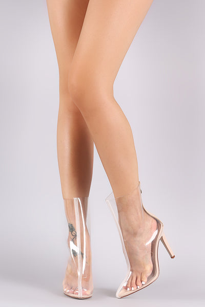 Wild Diva Lounge Clear Pointy Toe Stiletto Boots