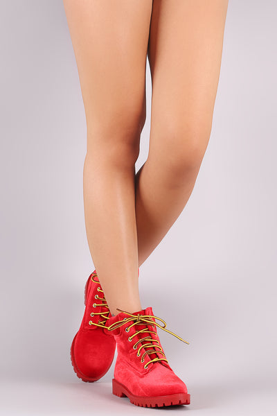 Liliana Velvet Combat Lace-Up Ankle Boots