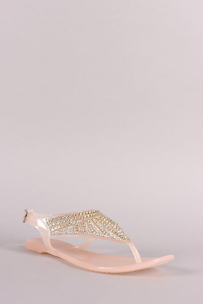 Bamboo Jeweled T-Strap Jelly Thong Flat Sandal