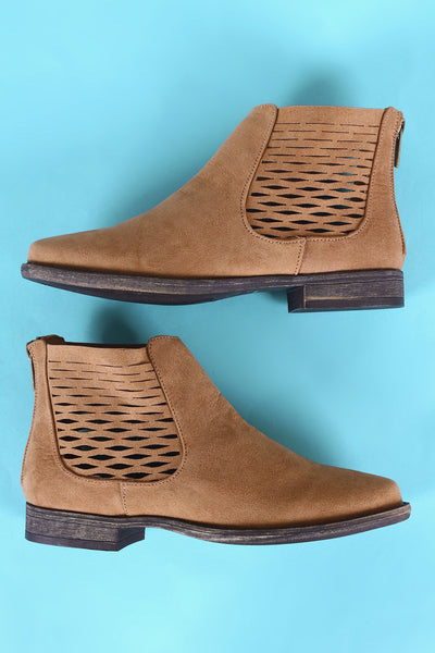 Bamboo Side Perforated Flat Ankle Boots