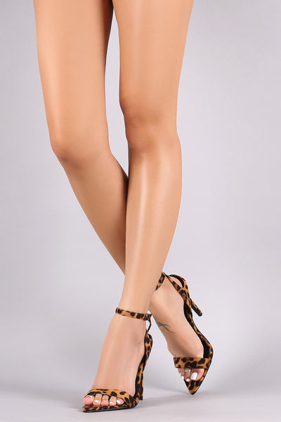 Pointed Open Toe Ankle Strap Stiletto Heel