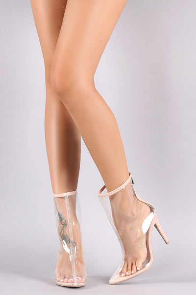 Transparent PVC Pointy-Toe Stiletto Ankle Boot