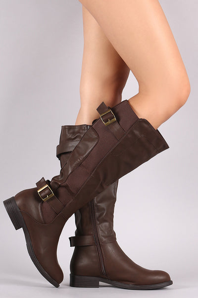 Dual Buckled Strap Elastic Gore Inset Riding Knee High Boots