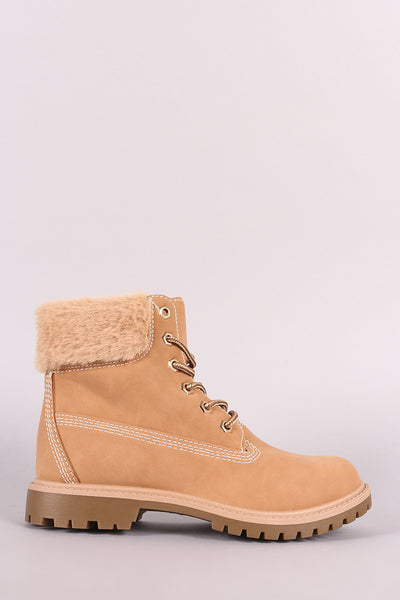 Bamboo Faux Fur Cuff Lace Up Ankle Boots