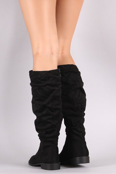 Bamboo Round Toe Slouchy Knee High Boots