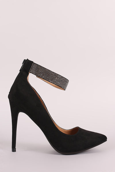 Anne Michelle Rhinestone Ankle Strap Pointy Toe Pump